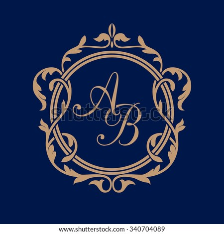 Elegant floral monogram design template for one or two letters . Wedding monogram. Calligraphic elegant ornament. Business sign, monogram identity for restaurant, boutique, hotel, heraldic, jewelry. - stock vector