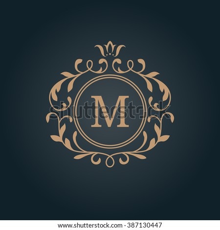 Elegant Floral Monogram Design Template One Stock Vector HD Royalty