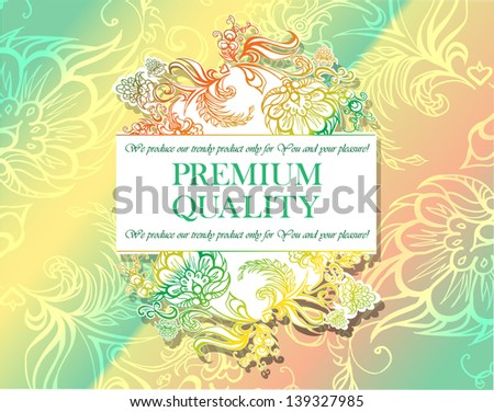 Elegant floral pattern, background, and a label for corporate identity, branding and design