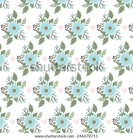elegant floral pattern with flowers, branches and berries and hearts on white background. can be used like pattern for wrapping paper or pattern for wedding invitations or greeting cards - stock vector