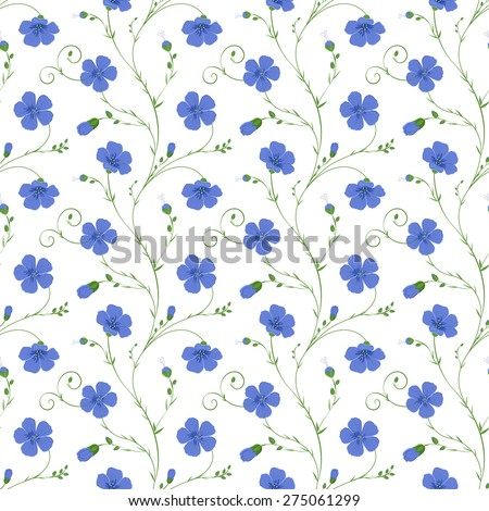 Elegant floral seamless background of flax plant with flowers and buds - stock vector