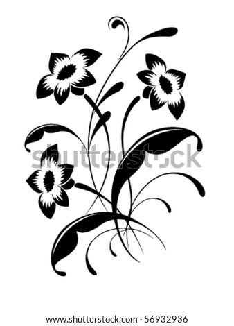 Elegant flower pattern, tattoo - stock vector