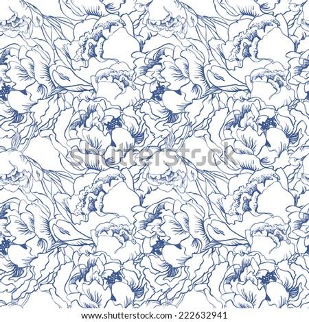 Elegant flower seamless background. Blue set. Hand drawn vector illustration - stock vector