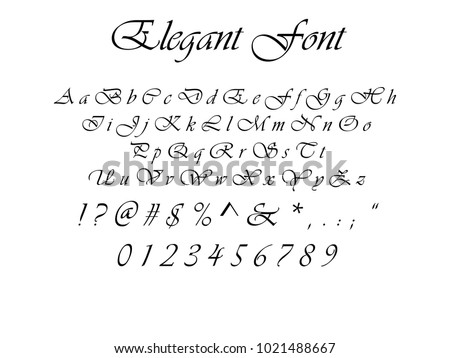 Elegant Font Cursive Letters Numbers And Symbols Full
