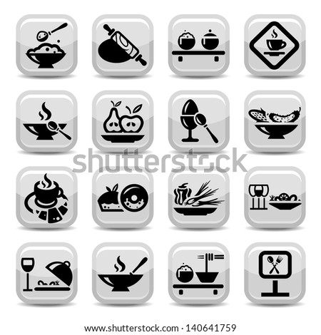 Elegant Food Icons Set Created For Mobile, Web And Applications. - stock vector