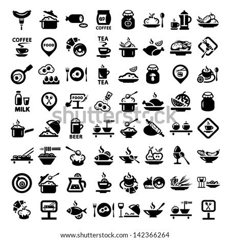 elegant food icons set created for mobile web and applications