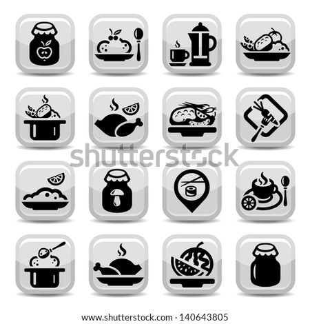 Elegant Food Vector Icons Set Created For Mobile, Web And Applications. - stock vector