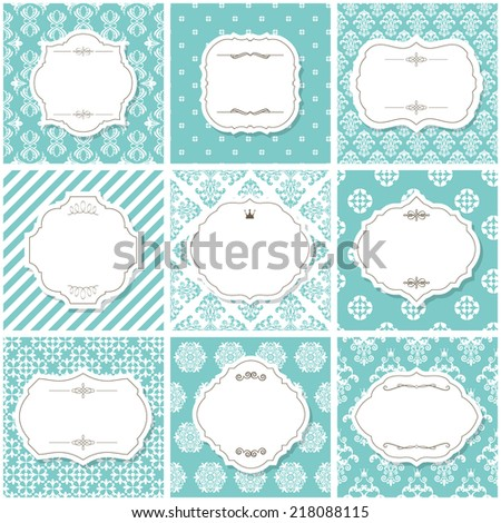 Elegant frame set with calligraphic design elements on seamless patterns.   - stock vector