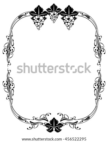 Elegant frame with grape. Design element for advertisements, logo, banners, labels, prints, posters, web, presentation, invitations, weddings, greeting cards, albums. Vector clip art. - stock vector