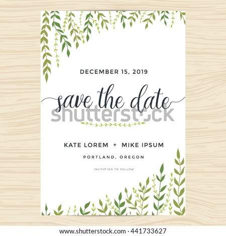Elegant Garden Leafs Design Save Date Stock Vector Hd Royalty Free