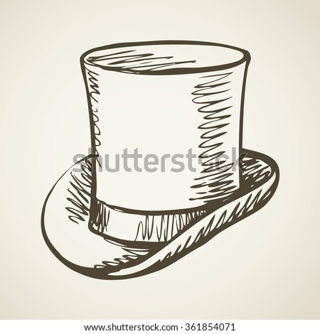 Elegant gent mr aged beaver chimney pot stove pipe kettle cap symbol isolated on white background. Freehand outline ink hand drawn doodle icon sketch pen on paper. Closeup view with space for text - stock vector