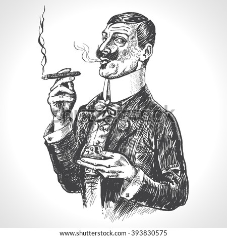 Elegant gentleman holding glass of beverage and cigar. Vintage vector engraving style. Victorian Era hand drawn illustration