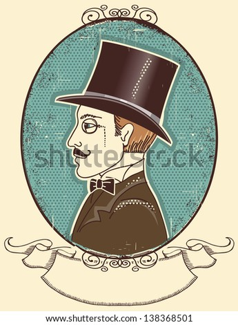 Elegant gentleman in a top black hat.Vector vintage illustration - stock vector