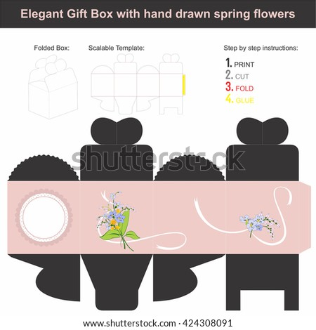 Elegant Gift Box in cube shape with hand drawn spring flowers |  - stock vector