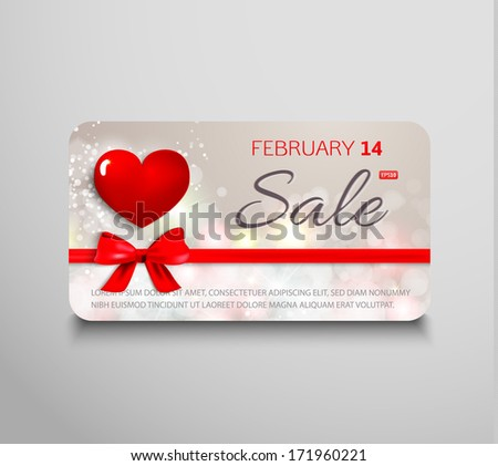 Elegant gift card for sale with red heart, ribbon and gift bow. Vector background. Valentine's sale banner. - stock vector