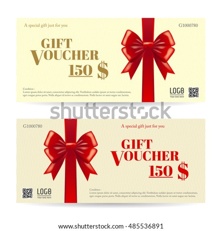 Voucher Gift Certificate Coupon Template Present Stock Vector
