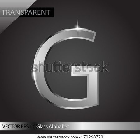 Elegant glass shining letter G VECTOR - stock vector