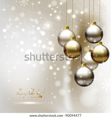 elegant  glimmered Christmas background with evening balls - stock vector