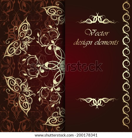 Elegant gold frame banner with butterflies, floral elements  on the ornate background. Vector illustration. EPS 10.