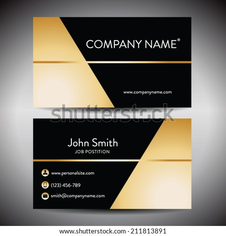 Elegant golden black business card template stock vector royalty elegant golden black business card template reheart Image collections