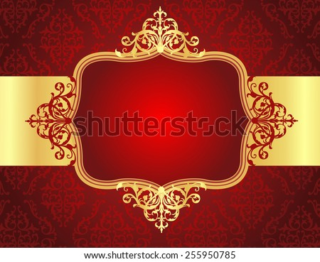 Elegant golden / gold ornamental / retro frame on red seamless damask pattern background with a shiny gold ribbon. perfect for wedding and party invitations - stock vector