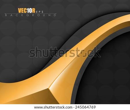 elegant golden metallic elements on black background business card eps10 vector - stock vector