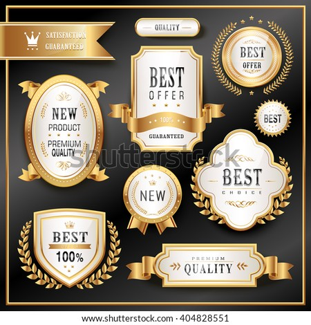 elegant golden premium labels collection set in black background - stock vector