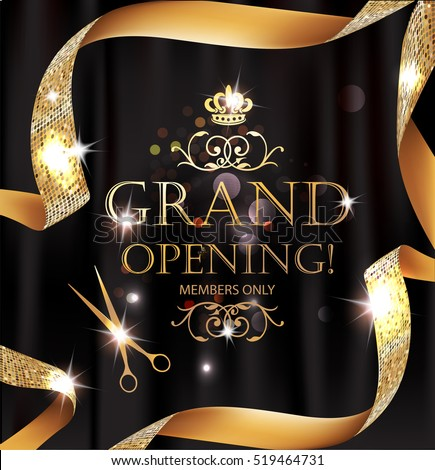 Elegant grand opening card with silk textured curled gold ribbon