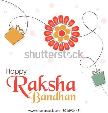 Elegant greeting card design decorated with beautiful rakhi and gifts on shiny background for Indian festival, Raksha Bandhan celebration. - stock vector