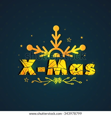 Elegant greeting card design decorated with creative golden text X-Mas and snowflake for Merry Christmas celebration. - stock vector