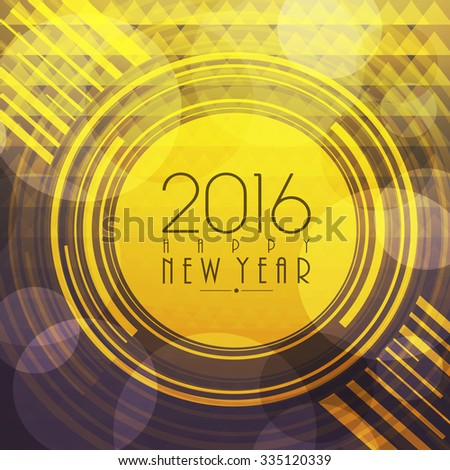 Elegant greeting card design for Happy New Year 2016 celebration. - stock vector