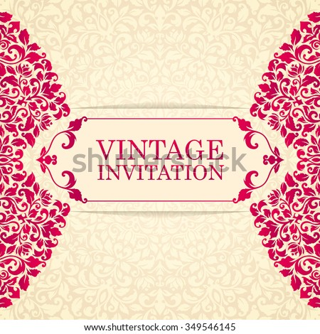 Elegant greeting card design. Vintage floral invitation card template. Luxury swirl mandala greeting card. - stock vector