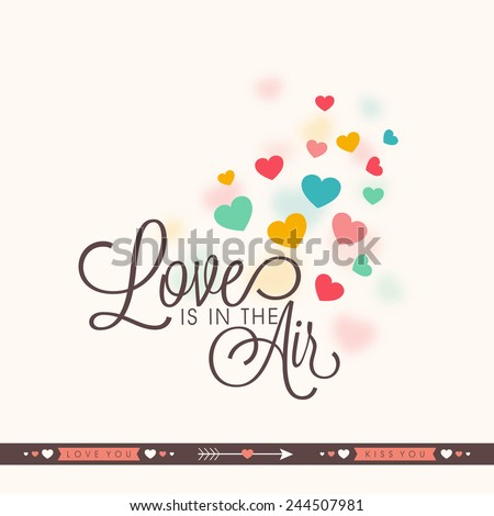Elegant greeting card design with colorful hearts and text Love Is In Air for Valentines Day celebration. - stock vector