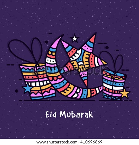 Elegant greeting card design with colourful crescent moon, stars and gifts on purple background for Islamic Famous Festival, Eid Mubarak celebration. - stock vector