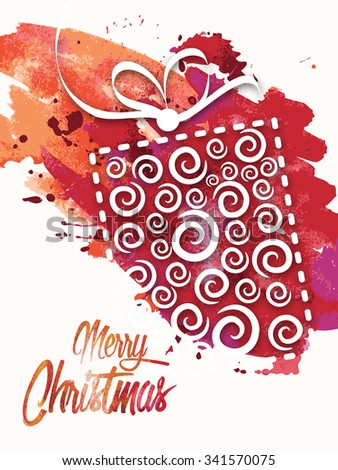 Elegant greeting card design with creative gift on abstract colorful splash background for Merry Christmas celebration.