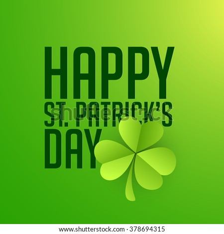 Elegant greeting card design with glossy shamrock leaf for Happy St. Patrick's Day celebration. - stock vector