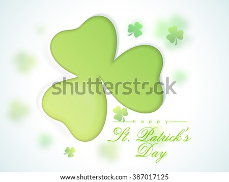 Elegant greeting card design with glossy shamrock leaves for Happy St. Patrick's Day celebration. - stock vector