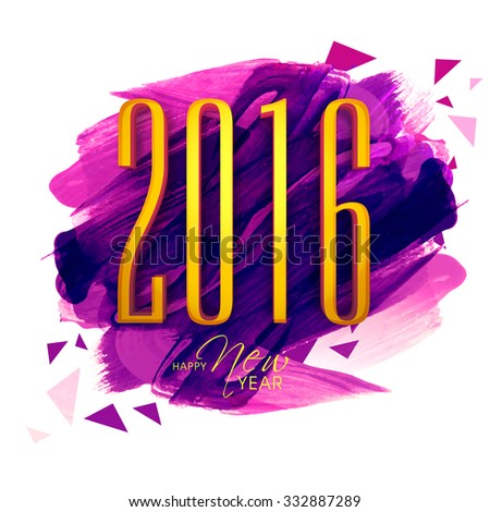 Elegant greeting card design with golden text 2016 on paint stroke background for Happy New Year celebration. - stock vector