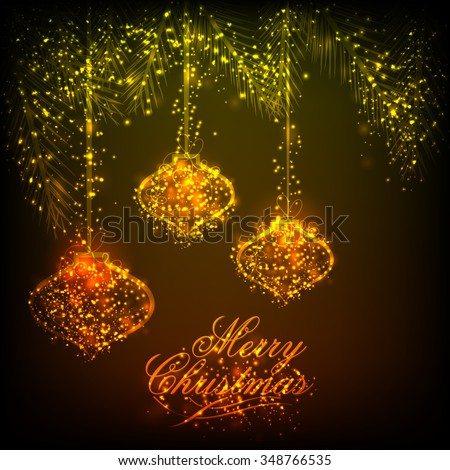 Elegant greeting card design with sparkling Xmas Balls hanging on fir tree for Merry Christmas celebration. - stock vector