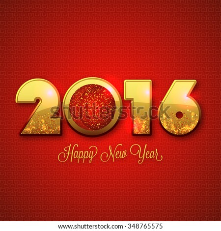 Elegant greeting card design with stylish golden text 2016 on shiny red background for Happy New Year celebration. - stock vector
