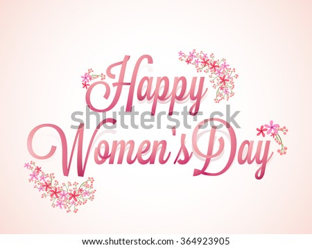 Elegant greeting card design with stylish text Happy Women's Day on shiny pink background. - stock vector