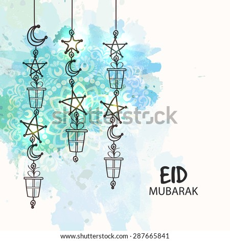 Elegant greeting card with hanging crescent moons, stars and gifts on floral design decorated background for Islamic festival, Eid celebration. - stock vector