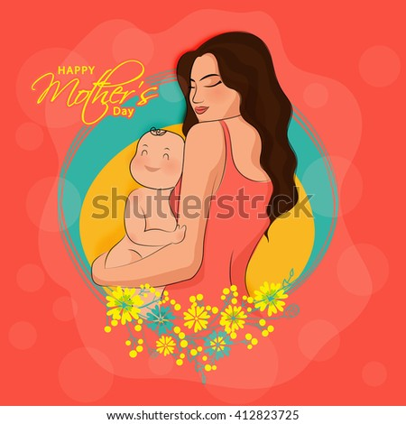 Elegant Greeting Card with illustration of a Young Mother holding her adorable Baby on flowers decorated background for Happy Mother's Day celebration. - stock vector