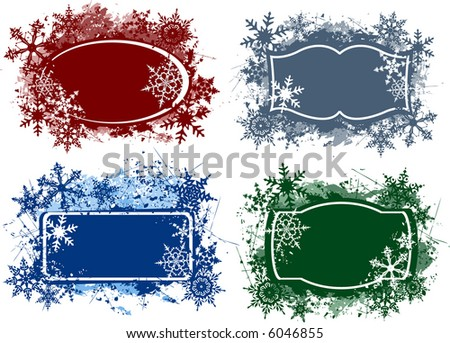 elegant grunge style snowflake design gift tags - vector illustration - fully scalable