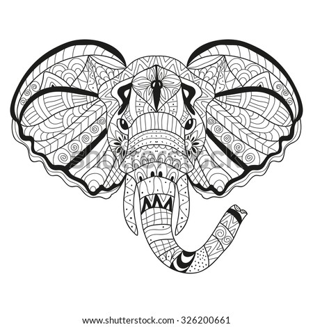 Elegant hand drawn decorative elephant, design element. Can be used for invitations, greeting cards, scrapbooking, print, gift wrap, manufacturing. Animal theme - stock vector
