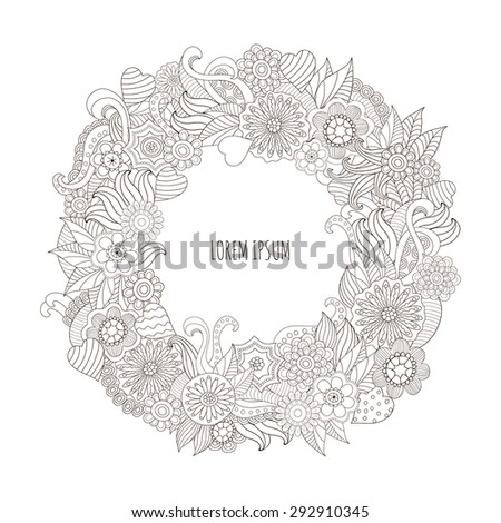 Elegant hand drawn designs template with copy-space for text . Good for labels, invitations, card. Vector illustration. - stock vector