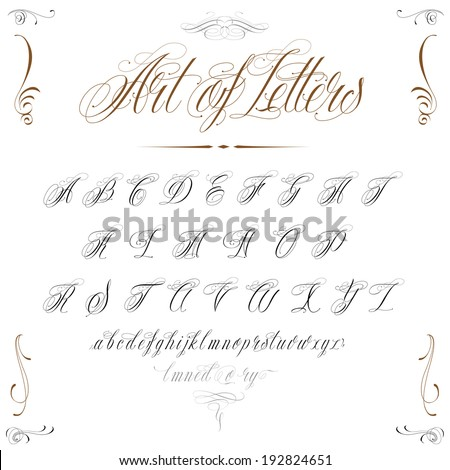 Elegant handmade tattoo alphabet - stock vector