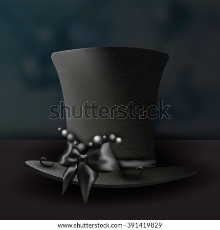 Elegant hat in black. Cylinder. Hat. Headpiece. The Gothic style. Set of vector illustrations. - stock vector