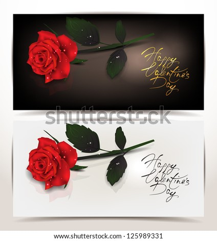 Elegant holiday banners with red realistic rose - stock vector