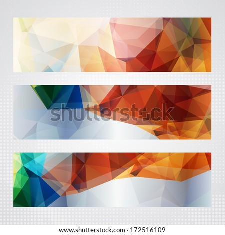 Elegant horizontal banners with bright red, green and blue transparent triangles. - stock vector